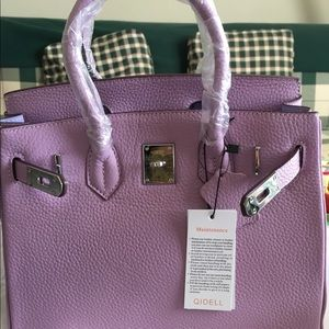 Handbags - Birkin style lavender light purple leather bag